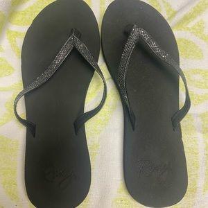 Roxy black womens sparkle slippers size 8